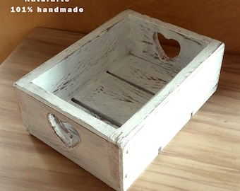 Wooden box with hearts
