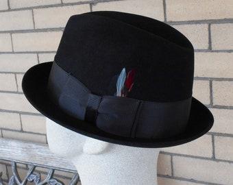 e1871f51080 Vintage Kevin McAndrew Black Felt Stingy Brim Fedora Hat