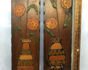 """Pair of 29"""" Tall Vintage Wood Plaques Wall Hangings Applied Mod Flowers in Vases Mid Century Modern Retro Atomic Decor"""