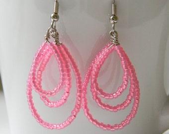 Pink Layered Loop Earrings