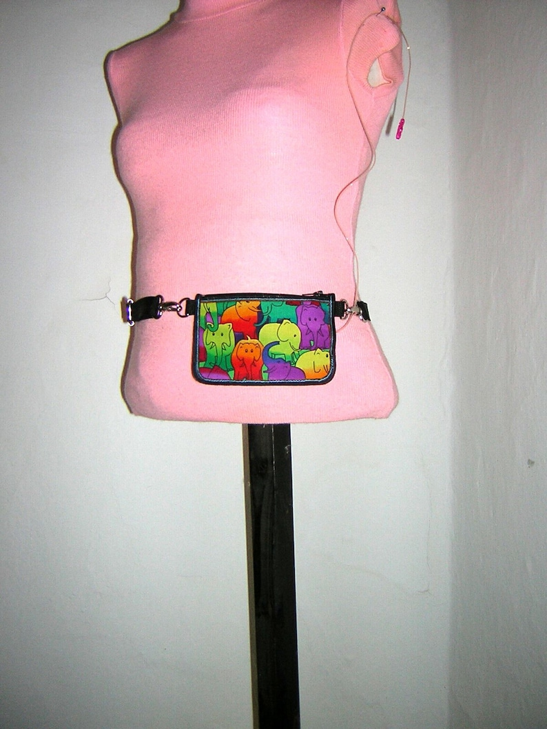 Insulin Pump Case diabetes pump pouch Reversible cover 2in1 purse zipper belt bag Pump Fabric Cover rainbow elephant and colorful polka dots