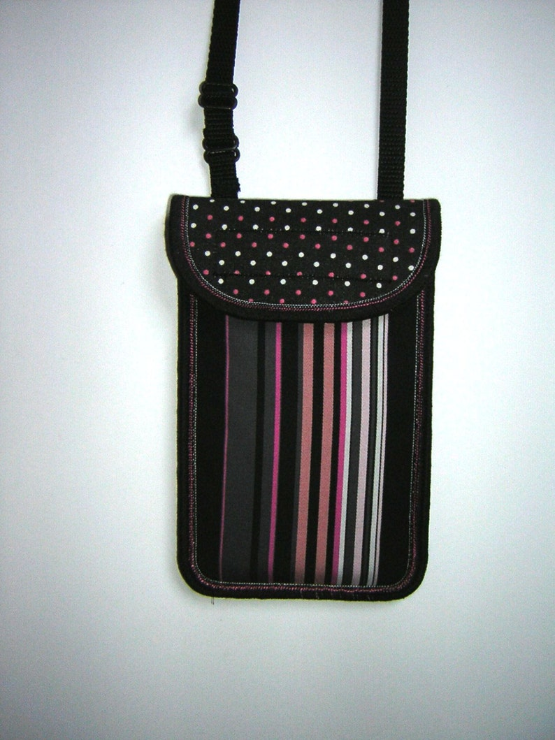 iPhone 6 Neck Case  Small Sling Bag cell phone pack Crossbody Purse Smartphone Cover fabric mini bag in striped dots black gray pink white