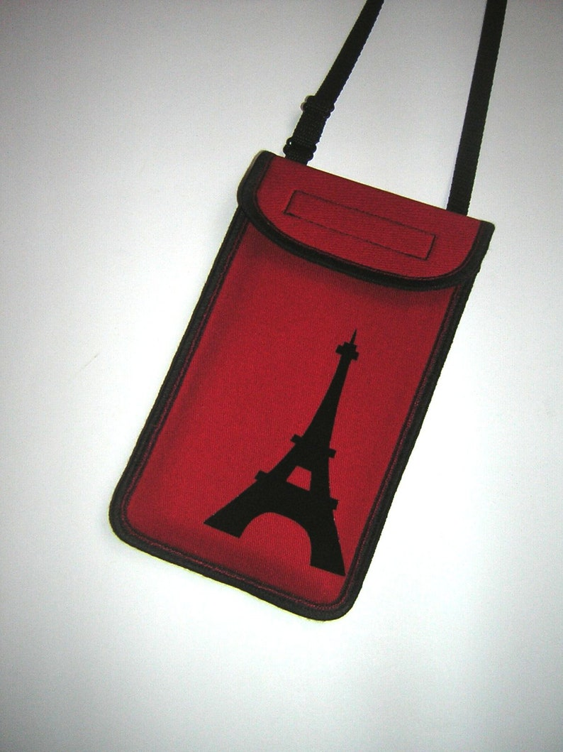 promo code a6035 3a25f iPhone 7 plus purse Cell Phone Cover crossbody/neck bag small shoulder Cute  Cellphone Sling Bag fabrics in red with black Eiffel tower