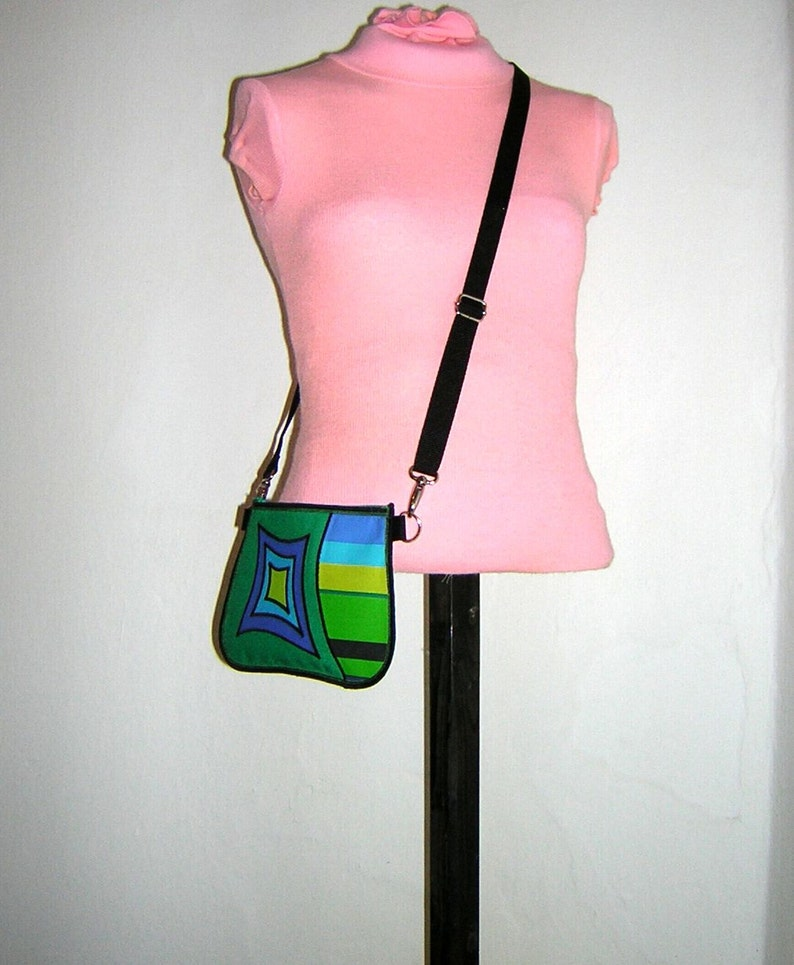 NEW small fanny pack Upcycled Hip Bag eco belt bag Phone Case waist bag-mini sling purse Handmade pouch mix fabrics green blue lime