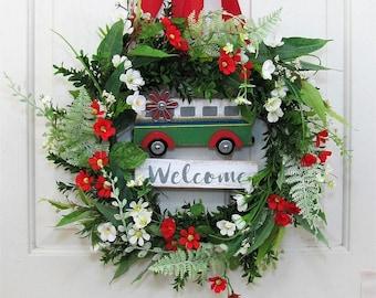 Summer Wreath - Bus Welcome Wreath - Farmhouse Decor - Front Door Wreath - Fixer Upper - Camping Home Decor -  Nostalgic Wreath Vintage