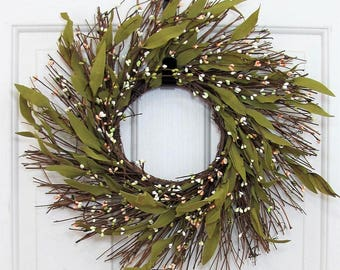 Spring Wreaths - Bay Leaf & Berry Wreath - Window Pane Wreath - Farmhouse Wreath - Spring Pip Berry Wreath - STORM Door - Spring Porch