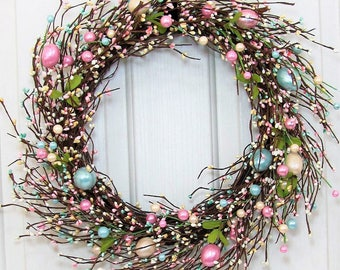 Storm Door Wreath - Easter Wreath -Pearl Easter EGG Pip Berry Wreath - Spring Front Door - Primitive Wreaths - Easter Home Decor - Farmhouse