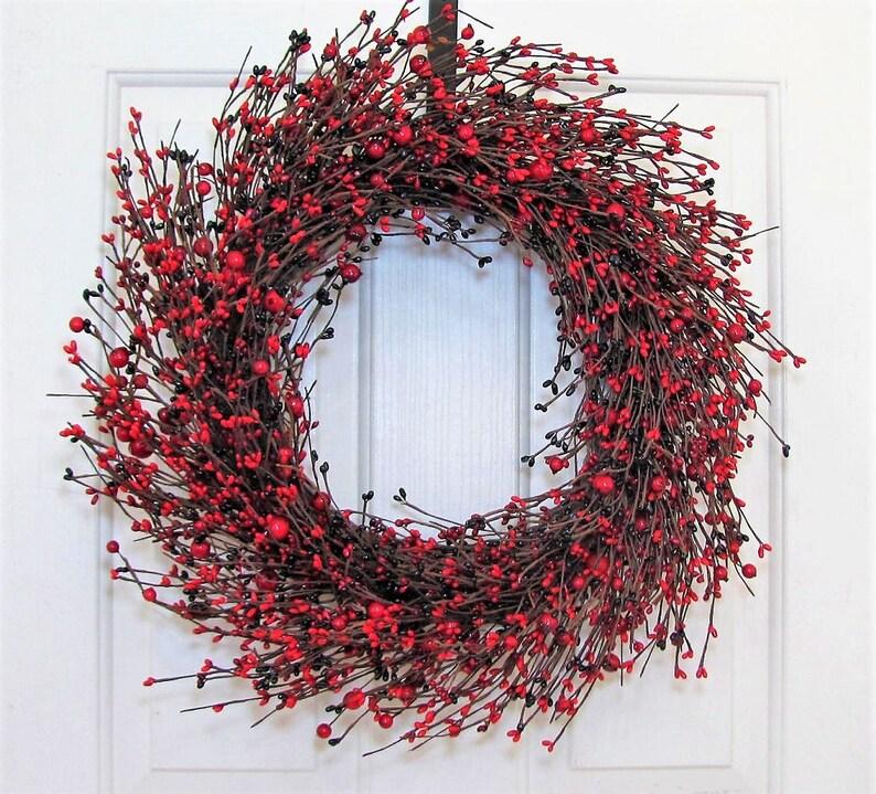 Valentine Red Berry Wreath Storm Door Wreath Pip Berry Etsy