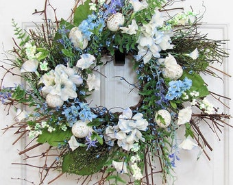 Spring Wreath - Spring Egg & Pip Berry Wreath - Spring Wreath Front Door - Primitive Wreaths - Home Decor - Farmhouse Decor - Blue Wreath
