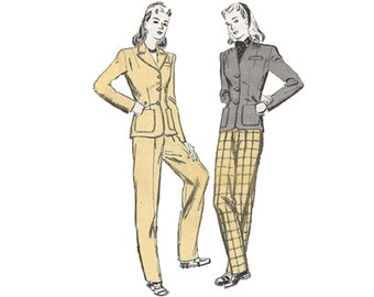 1940s Tailored Jacket and Slim Tapered Slacks Butterick 2901 Womens High Waist Pant Suit Size 14 Bust 32 Vintage Sewing Pattern
