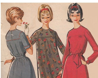 Vintage 60s High Yoked Dress and Sash McCalls Sewing Pattern 6913 Gathered Yoke Long or Short SleevesTeen or Petite Size 10T Bust 30