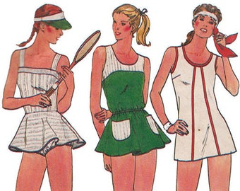 80s Flared Mini Tennis Dress with Bloomers Butterick 6535 Vintage Fast and Easy Sewing Pattern Size 10 Bust 32 1/2