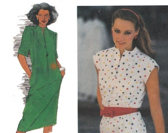 Slim Fitting Dress Pattern with Obi Sash Slash Front Opening Stand Up Collar Vintage 1980s Sewing Pattern Simplicity 9443 Size 12 Bust 34