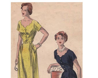 1940s Dress Vogue 6645 Size 12 Bust 30 Scalloped Neckline Front and Back Fitted Waist Short Kimono Sleeves Vintage Sewing Pattern