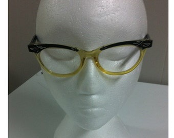 8fa203b19e2 1950s Cat Eye Frames Clear Yellow Frame with Black Overlay with Etched  Design Vintage Glasses No Lenses USA Wear or Use for Wall Art Display