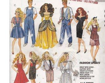 1990s Barbie and Ken Wardrobe Pattern McCalls 6317 Overalls, Ball Gown, Romper, Vest, Cocktail Dress, Wedding Dress Sun Dress