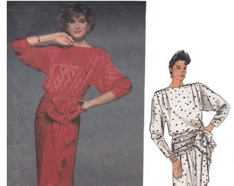 80s Evening or Cocktail Dress UNCUT Vogue Sewing Pattern 1510 Bust 34 Designer Kasper/Cascading Drape/Front Blouson Bodice/Kimono Sleeves