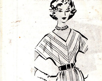 Tapered Wiggle Dress Pattern Plus Size 18.5 Bust 39 Uncut Vintage 1950s Patt-O-Rama 8119 Kimono Sleeves V Neck Easy to Sew
