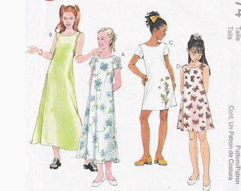 90s Girls Easy Dress in 2 Lengths McCalls 2074 Size 7 -8 - 10 One Hour Dress A Line Vintage Sewing Pattern