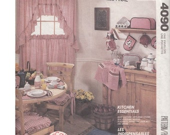 ON SALE! 80s Country Kitchen Decor and Accessories Sewing Pattern McCalls 4090 / Cafe Curtain / Appliance Covers / Apron / Ruffle Chair Pad