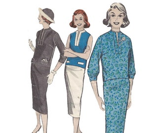 Vintage 1950s Two Piece Dress Pattern Bust 34 Butterick 8497 Slim Skirt & Overblouse with Sleeve Options Vintage Sewing Pattern