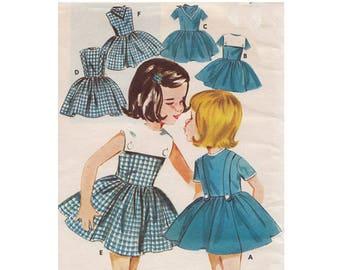 Little Girls Flared Bouffant Dress Butterick 2553 Childrens Size 4 Detachable Collar/Cowboy Scarf Uncut Vintage 1963 Sewing Pattern