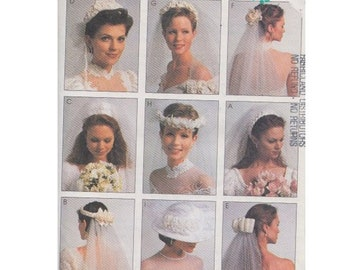 ON SALE! 90s Bridal Veil in 8 Styles and 1 Bridal Hat McCalls 7984 Pillbox/ Bow/ Braid/ Floral/ Headpiece/ Comb/ Vintage Sewing Pattern