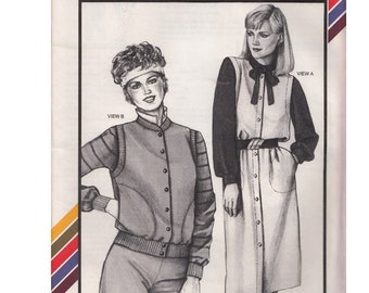 80s Jumper and Vest Stretch n Sew Pattern 1543 Bust 30-46 Uncut Vintage Multi-Size Sewing Pattern Designed by Ann Person