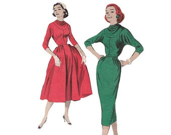 Sexy 1950s Bouffant Dress or Wiggle Dress Butterick 8311 Yoked Cowl Neckline Dolman Sleeves Bust 31.5 Sophisticated /High Fashion