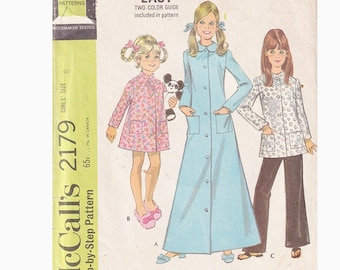 1960s Girls Easy Robe in 3 Lengths and Pants McCalls 2179 Size 8 Breast 27 Collar Options Vintage Sewing Pattern