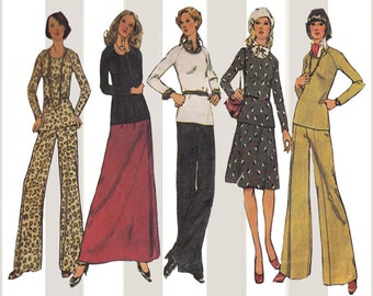 1970s Pullover Top with Bell Bottom Pants or Skirt in 2 Lengths Bust 34 Simplicity Sewing Pattern 6612 Vintage Easy to Sew Jiffy Knit