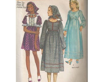 SALE! 70s Boho Dress in 3 Lengths with Scarf Simplicity 9120 Junior Size 7 Bust 32 High Waist Midi Mini Maxi Uncut Vintage Sewing Pattern