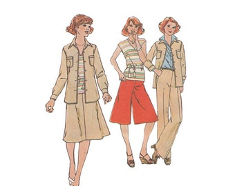 Misses A Line Skirt, Pants, Gauchos and Shirt Jacket Size 12 Bust 34 Simplicity Pattern 8105 Vintage 1970s Sewing Pattern