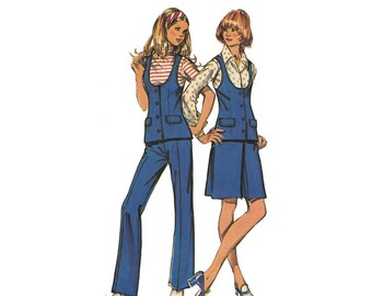 Misses Mod Vest with Skirt or Flared Pants Vintage 1970s Simplicity 9934 Sewing Pattern Bust 34 Scoop Neck/Front Buttons/Inverted Pleat