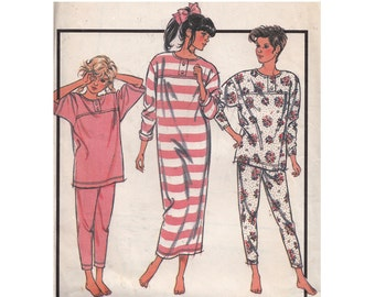 e85d4ba3da Tween and Teens 80s Pajamas   Nightshirt Style 1111 Size 12-14 Bust 30-32 Raglan  Sleeve Tunic Top Pants Stretch Knit Vintage Sewing Pattern