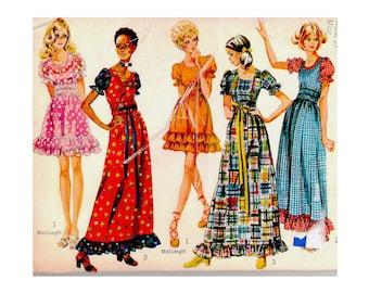1970s Hippy Boho Mini or Maxi Dress Simplicity 9403 Scoop Neck Puffed Sleeve Ruffle Hem Gathered Waist Bust 33 Vintage Sewing Pattern