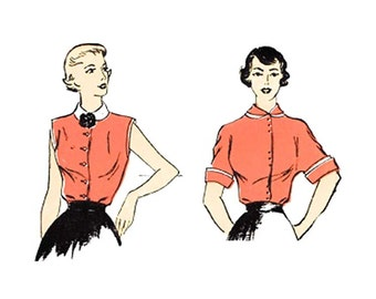 Vintage 1940s Blouse Pattern Size 17 Bust 35 Uncut New York 878 Square Neckline or Collar/Dart Fitted Waistline/Kimono Sleeve Uncut