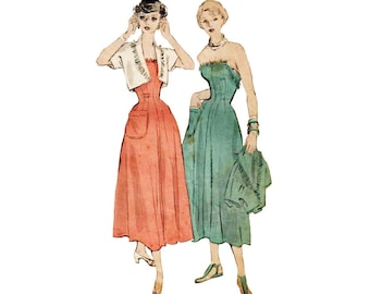Ladies Strapless Dress Pattern Fringed Bolero Bust 38/ Butterick 4890 Fit and Flared Fringe Fray Vintage 40s Sewing Pattern Free Shipping