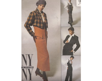 1990s Steampunk Jumper or Jumpsuit Pattern with Bolero Jacket & Top Uncut McCalls NY NY Sewing Pattern 6735 Bust 34 Shaped Jacket