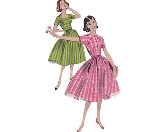 SALE! 50s Rockabilly Dress Size 16 Bust 36 Butterick 8656 Fit & Flare Bouffant Dress with Sabrina Square Neckline Vintage Sewing Pattern