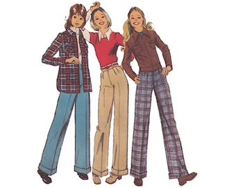 1970s High Waist Pleated Cuffed Pants/Bomber Jacket/Shirt Jacket Size 11/12 Bust 32 Simplicity 5262 Separates Sewing Pattern