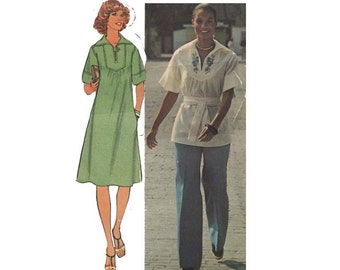 Womens Loose Fitting Dress Pattern or Tunic and Sash with Flared Pants Size 12 Bust 34 Simplicity 7430 Flower Applique Vintage 1970s