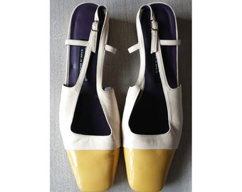 bc24f8970b Vintage 80s/90s Slingback Spectator Shoes Ivory with Yellow Toe Etienne  Aigner Made in Spain Size 9W Leather Upper Squared Toe