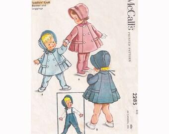 1950s Coat Bonnet and Leggings McCalls 2285 Baby Size 1 A Line Coat with Box Pleats, Tie Bonnet, Suspender Pants Vintage Sewing Pattern