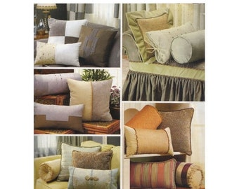 ON SALE Uncut Bolster and Pillow Sewing Pattern Simplicity 4108 Christopher Lowell Collection Piping Flanges Tie Sides Colour Blocking
