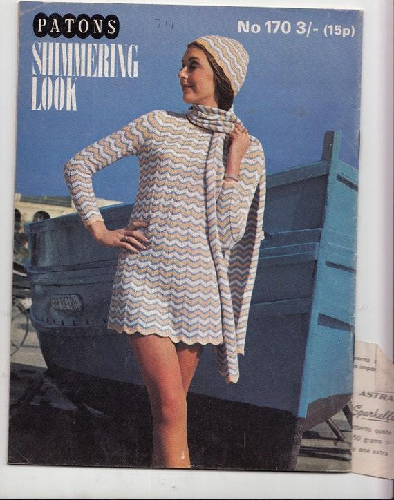 Modèles tricot mod des les années 70 pour les hommes et les des femmes Patons 170 chatoyantes Look Bikini tricot Poncho Mini robe Maxi et collants 4690e4