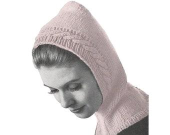 Vintage Knitting Pattern Womens 1950s Cable Stitch Edge Helmet Hat Retro Hat Pattern Instant Digital Download PDF