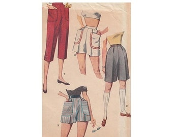 ON SALE Vintage Sewing Pattern Misses' Pedal Pushers and Shorts in 2 Lengths Simplicity 4680 Waist 26 High Waist/Patch Pockets/Back Zipper/B
