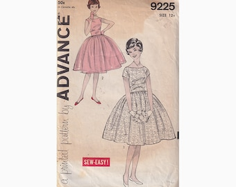 50s Tween Easy Rockabilly Dress Vintage Advance Sewing Pattern 9225 Fit and Flared Dress with 2 Bodices Size 12 Bust 31