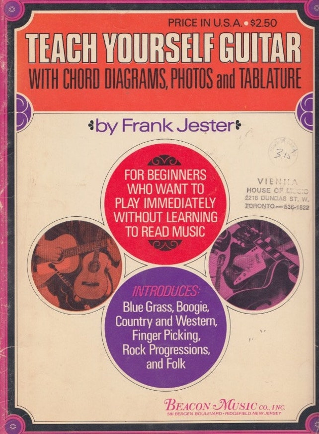 Teach Yourself Guitar By Frank Jester With Chord Diagrams Etsy